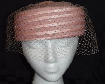 Pink Wool Satin Rhinestone Netting Pillbox Hat Milbrae Exclusive by Glenover Henry Pollak