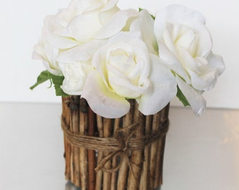 new , beautiful silk rose flower arrangement , wood vase , rustic design , driftwood , modern wedding center piece , eco friend home decor,
