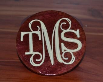 Wood Monogram Coasters, Carved Wooden Coasters, Personalized Coasters,  Wood Coasters, Coasters, Round Coasters, Drink Coasters
