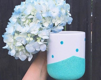 Blue Dot/Mint Green Glitter Mug