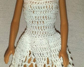 Crochet Barbie Dress, Fashion Doll Crocheted Clothing, Handmade Barbie Clothes