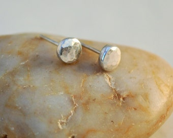 Recycled Sterling Silver Hammered Stud Earrings