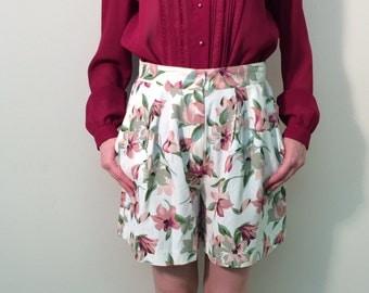 1980s Floral Shorts, Vintage High Waisted Shorts, 80s Shorts
