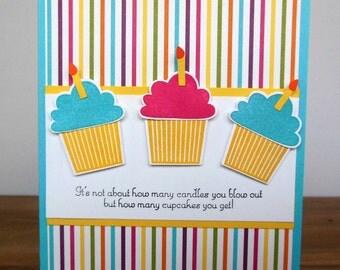 Birthday Card - Hand Stamped Cupcake Birthday Card -  Cupcake Birthday Card - Homemade Bright Cupcake Card - Handmade Cupcake card