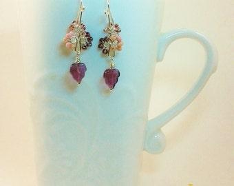 Purple Cluster Flowers and Leaf Earrings