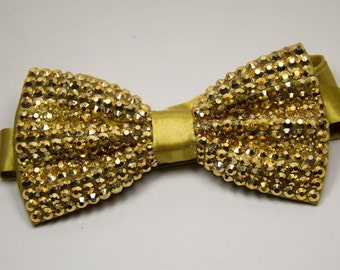Stunning Gold Crystal Bow Tie/ Bling bow tie/Sparkle bow tie