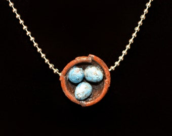 Nest Egg Necklace, Robin's Egg Nest Necklace, Eggs in a Nest Necklace