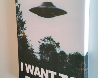 "18"" x 24"" X-Files ""I Want To Believe"" Poster Canvas Gallery Wrap Mulder Scully UFO Dorm"