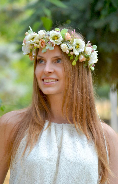 floral crown bridal flower crown anemone wedding halo bridal. Black Bedroom Furniture Sets. Home Design Ideas