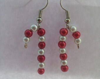 Candycane dangle earrings