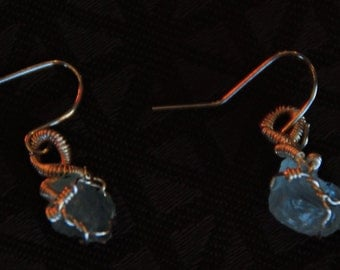 Aquamarine silver wire wrapped earrings