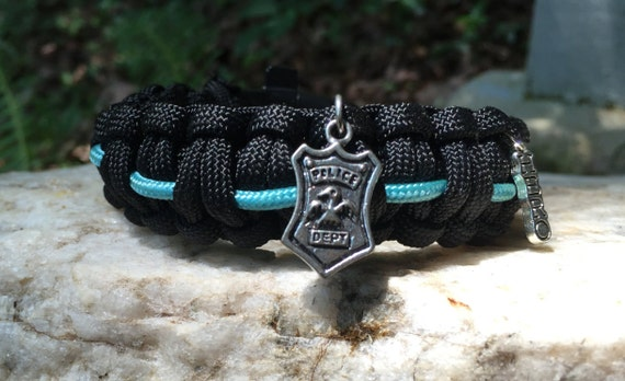 Law Enforcement Paracord Bracelet, with antique silver charm choices, stainless steel buckle