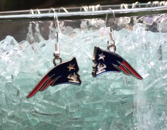 New England Patriots Antique Silver Enameled Earrings