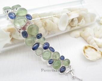 Prehnite and Kyanite Sterling Silver Bracelet