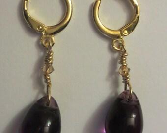 Beautiful Dark Purple Czech Teardrop Earring with Swarovski Crystal Bead - Purple Dangle Earring