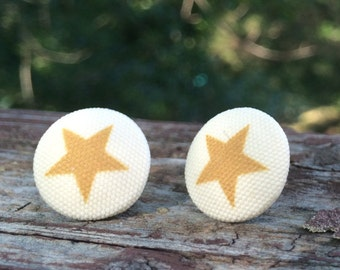16mm Canvas/fabric nickel-free earrings - mustard and off-white star earrings