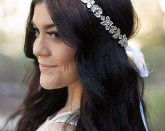 Bridal Boho, Rhinestone Headband, Rhinestone Headpiece, Bridal Rhinestone Headband, Crystal Headpiece, Bridal Headband, Bridal Headpiece
