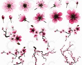 Pink Sakura/Cherry Blossom Clipart Collection