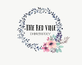 Watercolor logo - Premade logo - Affordable branding - Floral wreath logo - Watercolor florals - Business logo design - Teal and purple