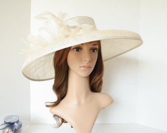 """Newest Kentucky Derby, Church, Wedding, Tea Party 3 Layers 6.25"""" Wide Brim with 100% feather Floral Sinamay Hat ( Ivory )"""