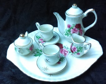 Miniature China Tea Set/Victorian Deco/ Pink and Burgandy Roses/Miniature collectibles/ Baum brothers/