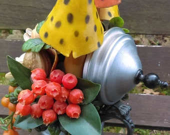 Vintage Fruit in a Pot/ Vintage/Mushroom with Fruits/Coffee pot/Kitchen decor/vintage grapes/Gift for her/Gift for mother/Plastic fruits/