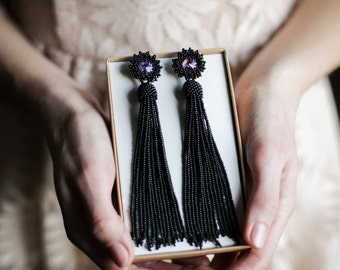 Black PROM earrings Black tassel earrings New year eve earrings Long statement earrings Swarovski fringe earrings Black long earrings