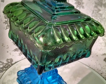 Carnival Glass candy dish, Opulent glass, blue green, Wedding box pedestal, Westmorland glass, pedestal candy dish, vintage candy dish,candy