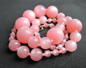 Vintage Pink Moonglow Thermoset Beaded Single Strand Necklace with Faux Pearl Seed Bead Spacers Matinee Length