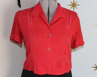 Vintage 1950s rust rayon gabardine celluloid button top blouse large 204