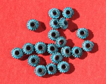 2/2 MADE IN GREECE, 10 mykonos beads, mykonos green patina beads, tiny green patina beads, small mykonos beads (X1824acg)QTY10