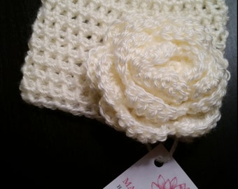 Crochet Baby Hat with Rose