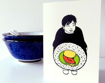 Card Sushi boy / Japanese costume / Illustration / Japanese cardcollection / Tokyo Japan / Blank A6 card
