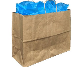 Pack 25 handled Kraft paper bag,16x6x12,Kraft gift bags,Kraft shopping bags with handles,small paper gift bags,brown paper bags