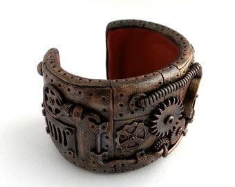 Steampunk Cuff Bracelet. Steampunk Jewelry. Neo Victorian Jewelry. Steampunk Cuff. Gothic. Industial. Gears. Vintage Steampunk Design. OOAK