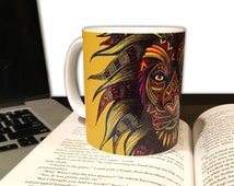 Lion Coffee Mug - 11oz. Mug - Animal Coffee Mug - Caesar - Tribal Art - Drawing - Colored Pencils