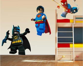 Lego Superhero Set   Wall Art Stickers Decal Superman Spiderman Batman  Childrens Bedroom Boys And Girls
