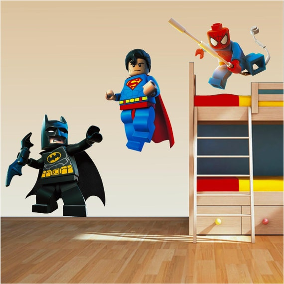 Lego Superhero Set Wall Art Stickers Decal Superman Spiderman - Lego superhero wall decals