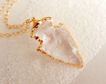 Arrowhead Quartz Necklace in Gold- Free Shipping Jewelry