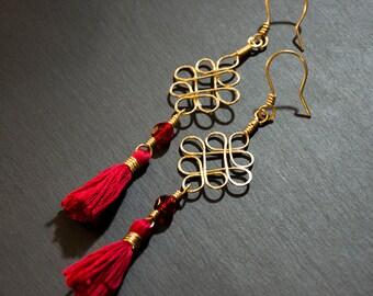 Long Dangle Earrings - Brass Wire Chinese Knot with Tassel
