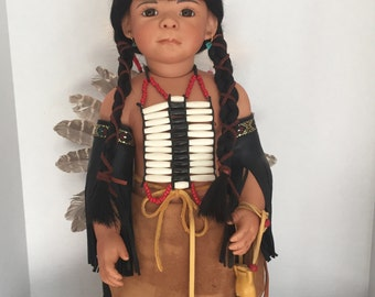 "22"" Native American Porcelain Doll ""Little Feather"""