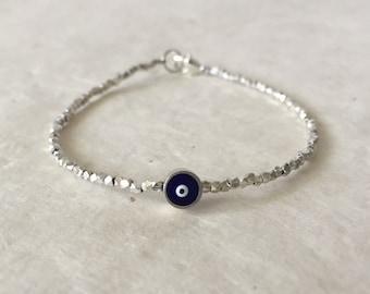 Evil Eye Karen Hill Tribe Thai Silver Beaded Bracelet, Sudance Style, Mother's Day Gift, Birthday Gift, Gifts for her, Boho Bracelet