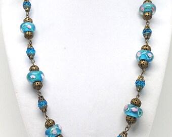 Vintage Estate Blue Glass Crystal Gold Tone Necklace
