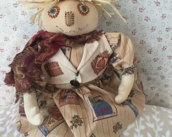 Handmade Rustic Garden Scarecrow, Primitive Dolls, Rustic Primitives, Primitive Decor Doll, Scarecrow Doll, Primitive Doll, Folk Art Decor