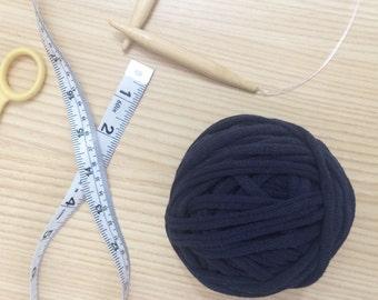 Navy Blue 100% Cotton T-Shirt Yarn; recycled yarn, upcycled yarn, T-Shirt yarn, tape yarn, cotton yarn, chunky yarn, thick yarn, blue yarn