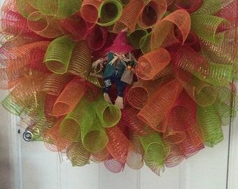 Fall Wreath, Big Wreath, Deco Mesh Wreath, Scarecrow Wreath, Red Wreath