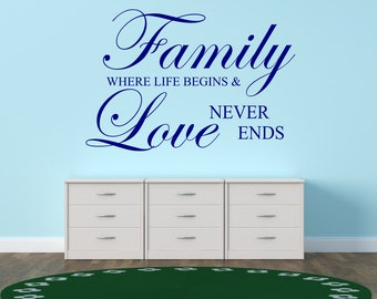 Family Where Life Begins And Love Never Ends Vinyl Wall Decal Sticker Quote
