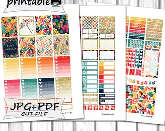 Colorful Autumn Planner Stickers/Printable Planner Stickers/Erin Condren Planner Stickers/Planner Stickers Printable/Autumn set