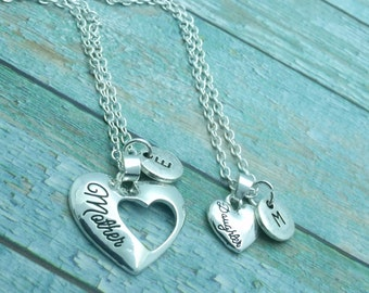 Mother & Daughter Heart Necklace Set Of Two, piece of my heart double necklace set, gift for daughter, gift for mum / mom, mothers day gift