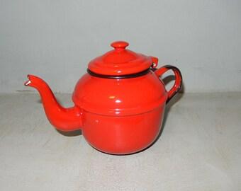 Red Enamel Teapot 12cm Vintage Enamel Kettle Red Enamelware Teapot 30 ounce Kettle